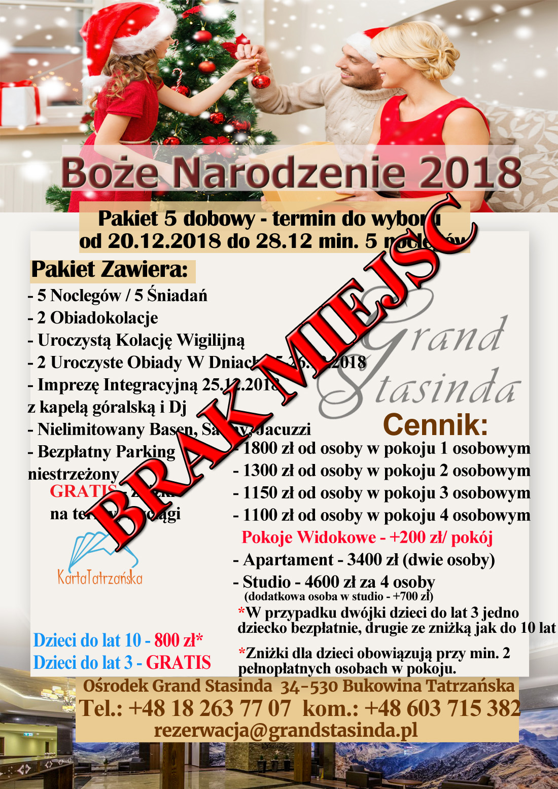 Grand Stasinda Bukowina Tatrzańska Noclegi Hotelowy Standard